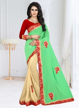 Fancy Fabric Cream and Mint Green Half N Half Trendy Saree For Festival
