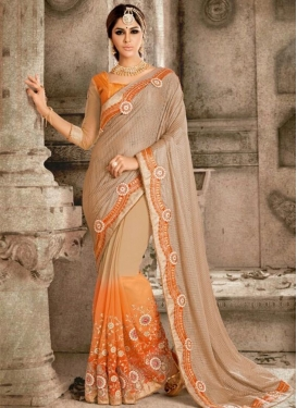 Fancy Fabric Embroidered Work Beige and Orange Half N Half Designer Saree For Ceremonial