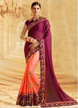 Fancy Fabric Half N Half Trendy Saree For Festival