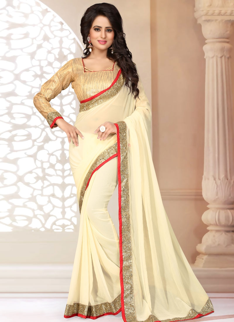 Fancy Lace Work Casual Saree