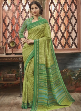 Fantastic  Aloe Veera Green and Sea Green Print Work Trendy Classic Saree
