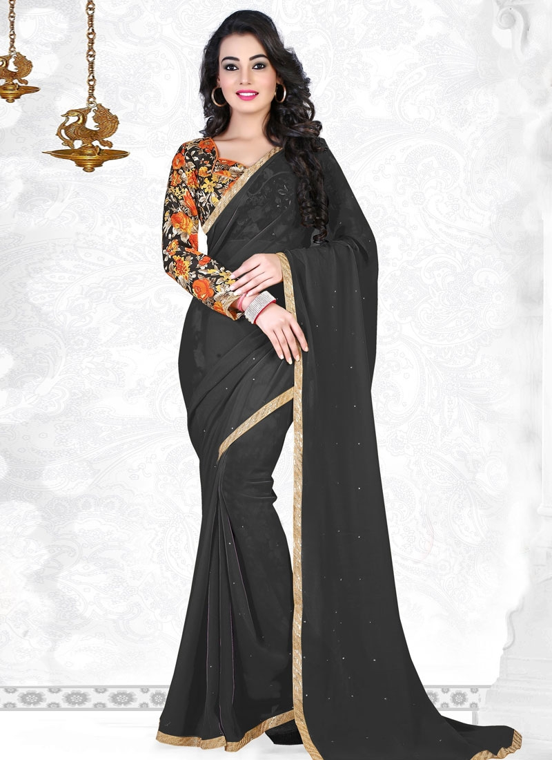 Fantastic Black Color Faux Georgette Casual Saree