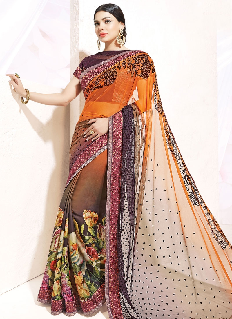 Fantastic Digital Print And Lace Work Half N Half Designer Saree