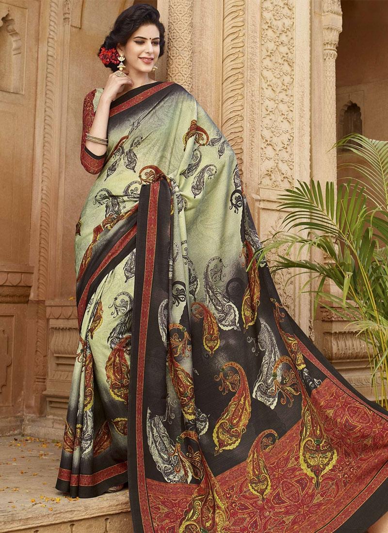 Fantastic Digital Print Work Cream Color Casual Saree