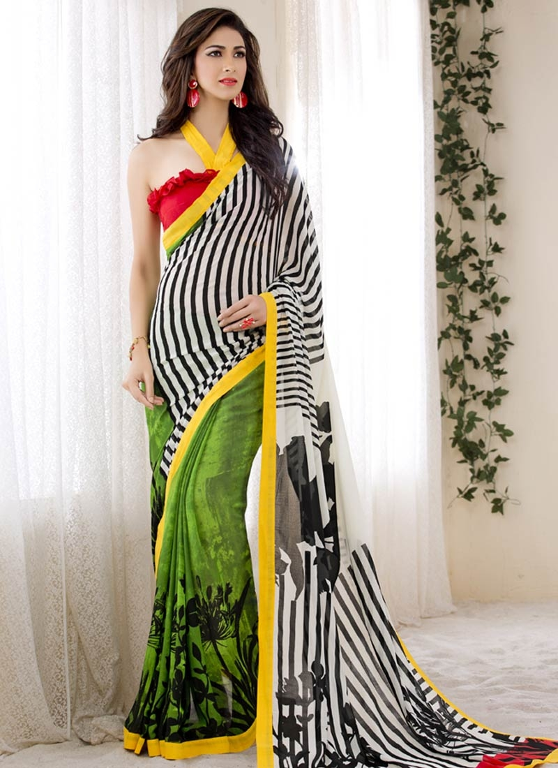 Fantastic Digital Print Work Half N Half Casual Saree