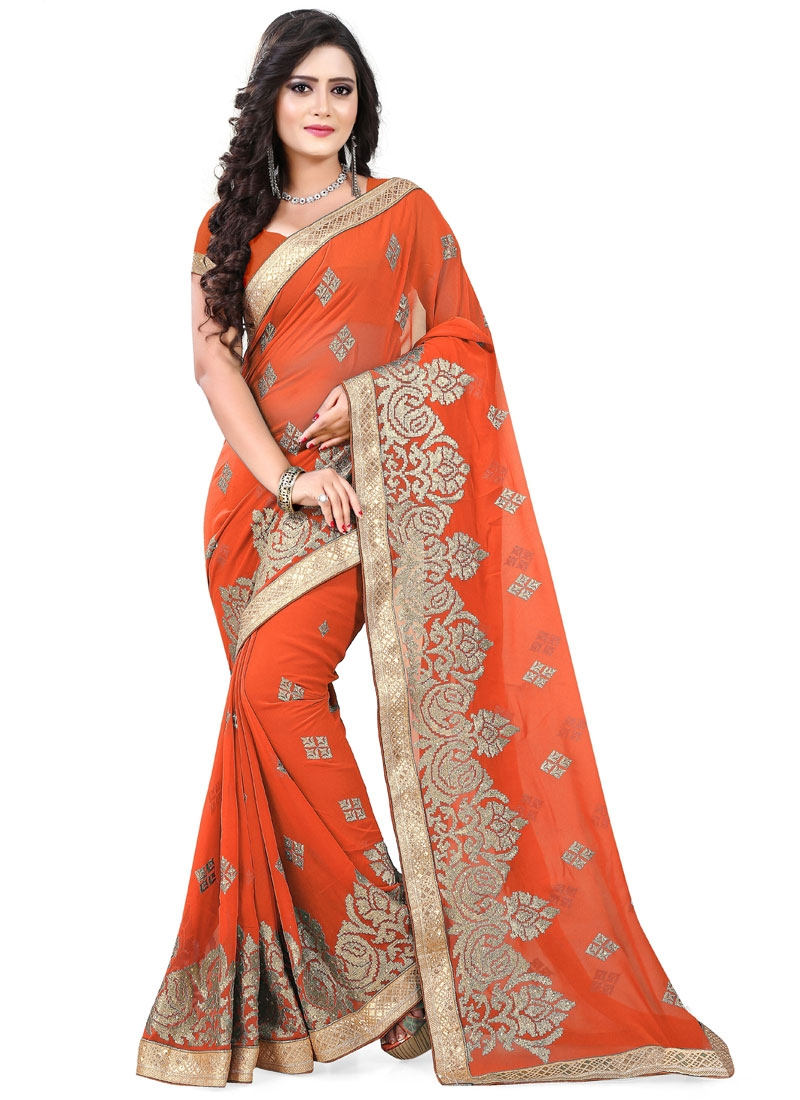 Fantastic Embroidery And Stone Work Designer Saree