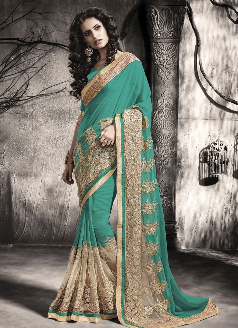 Fantastic Embroidery Work Faux Georgette Designer Saree