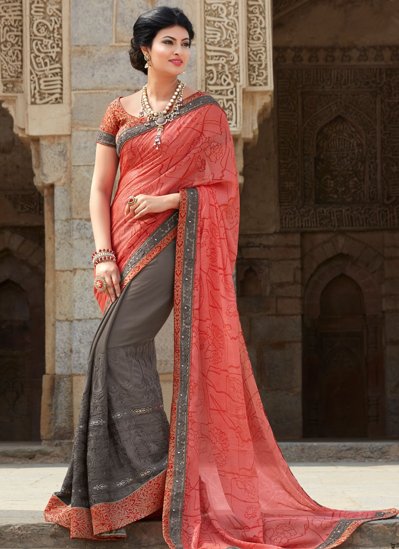 Fantastic Embroidery Work Grey Color Half N Half Designer Saree