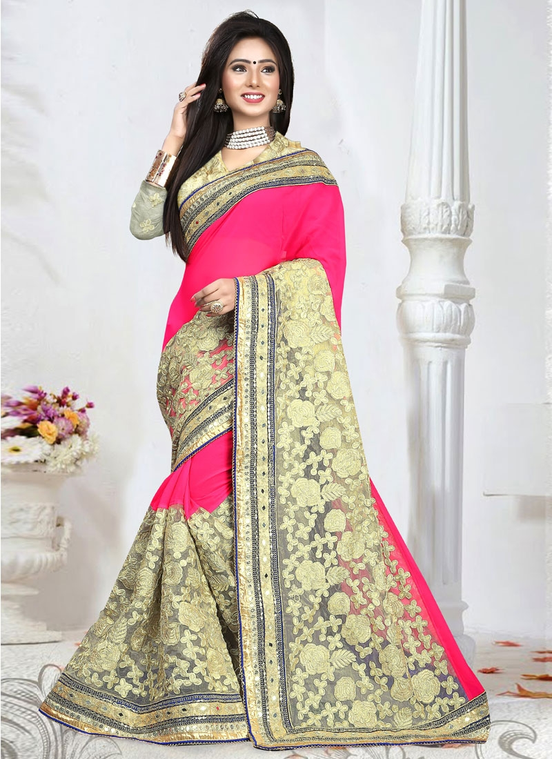 Fantastic Embroidery Work Net Wedding Saree