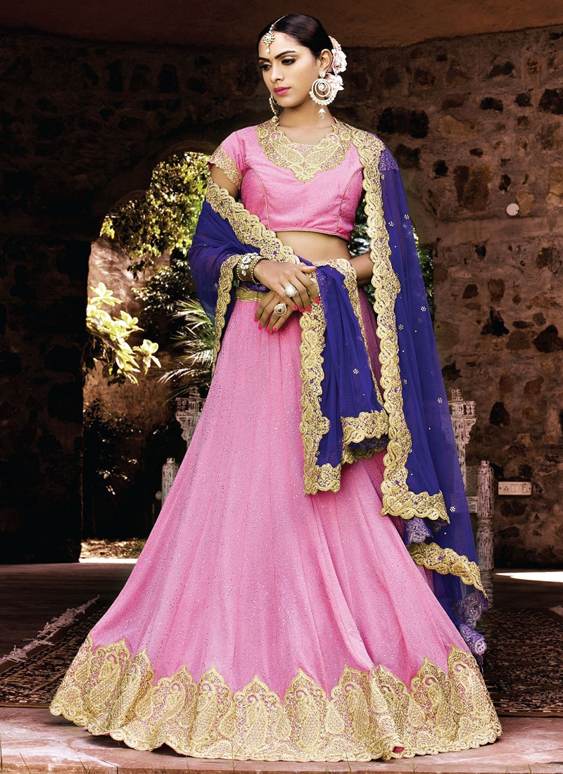 Fantastic Hot Pink Color Resham Work Wedding Lehenga Choli