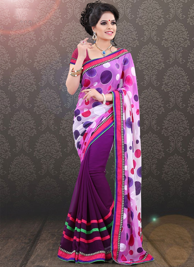 Fantastic Lace Work Half N Half Party Wear Saree