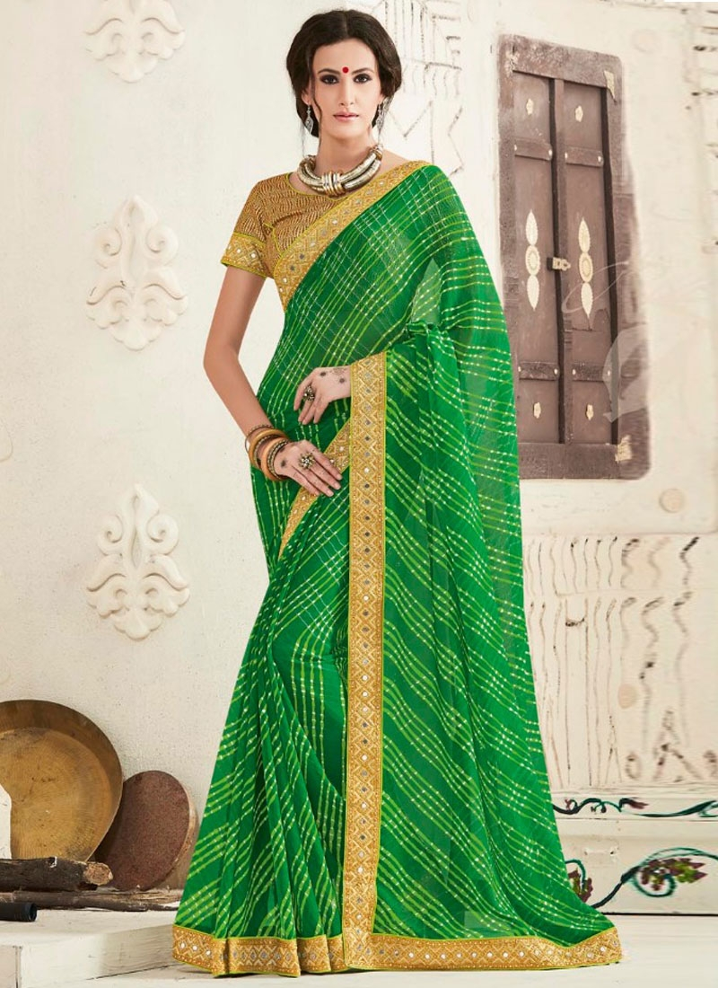 Fantastic Mirror Work Party Wear Saree