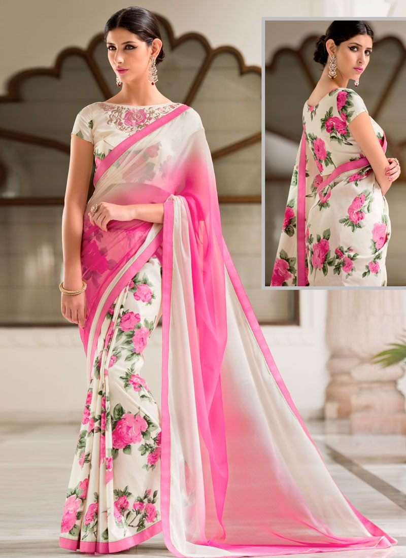 Fantastic Off White Color Digital Print Work Half N Half Casual Saree