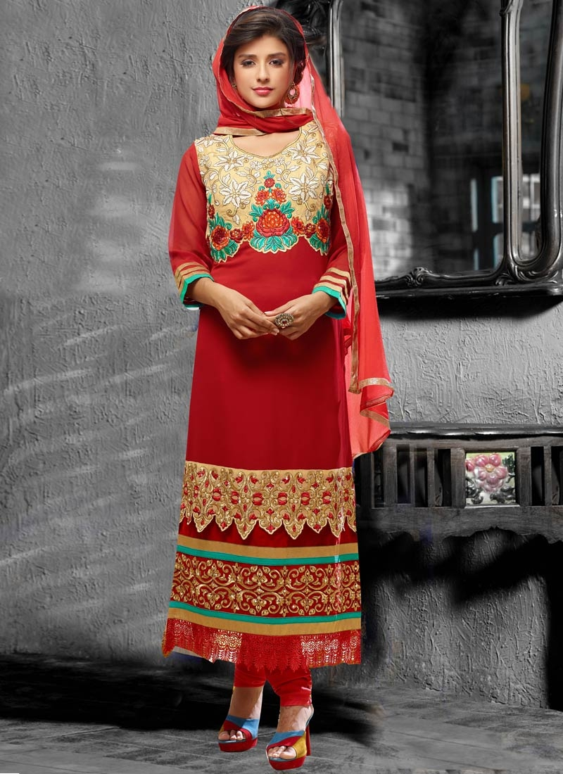 Fantastic Patch Border Work Red Color Pakistani Salwar Kameez