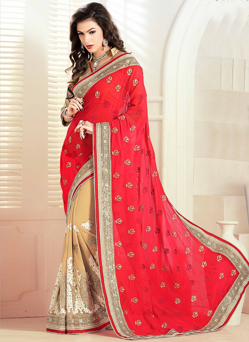 Fantastic Red And Beige Color Half N Half Wedding Saree
