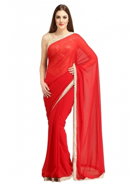 Fantastic Red Color Beads Work Casual Saree