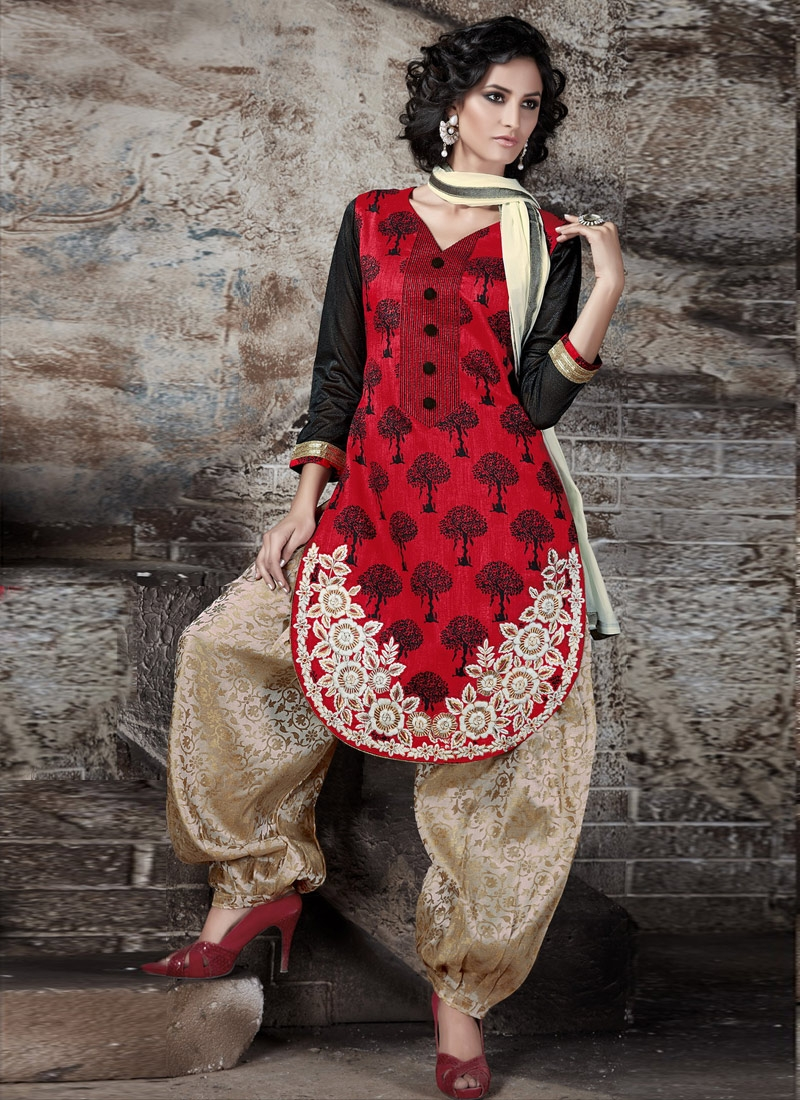 Fantastic Red Color Patiala Style Punjabi Salwar Kameez