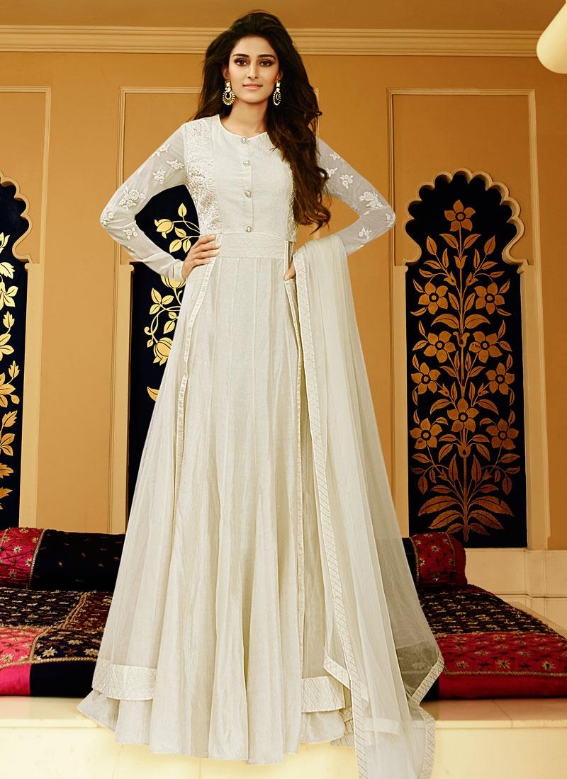 Fantastic Resham Work Net Floor Length Designer Salwar Kameez