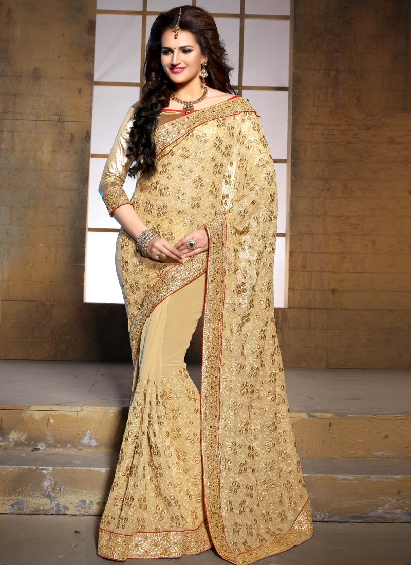 Fantastic Stone Work Beige Color Wedding Saree
