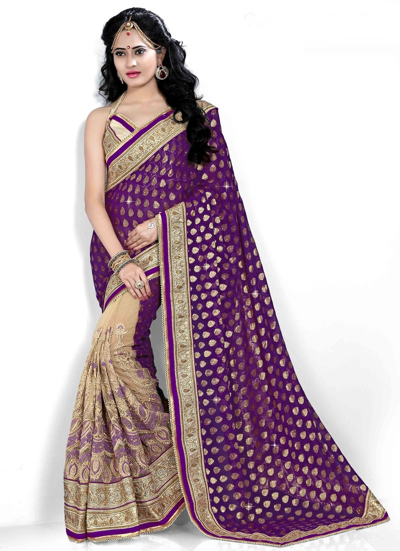 Fantastic Viscose And Net Half N Half Bridal Saree