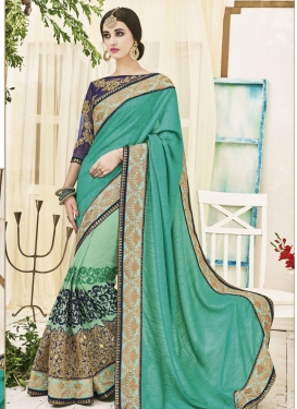 Fascinating Beads Work Faux Chiffon Traditional Saree For Party