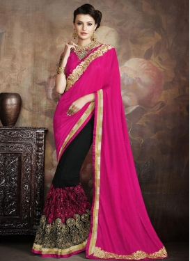 Fascinating Black and Rose Pink  Half N Half Saree