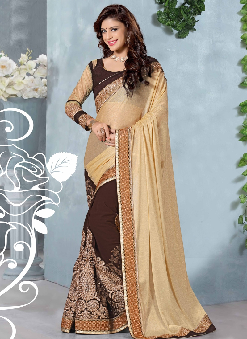 Fascinating Booti Work Half N Half Designer Saree