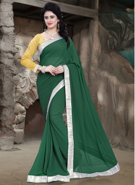 Fascinating Bottle Green Color Casual Saree