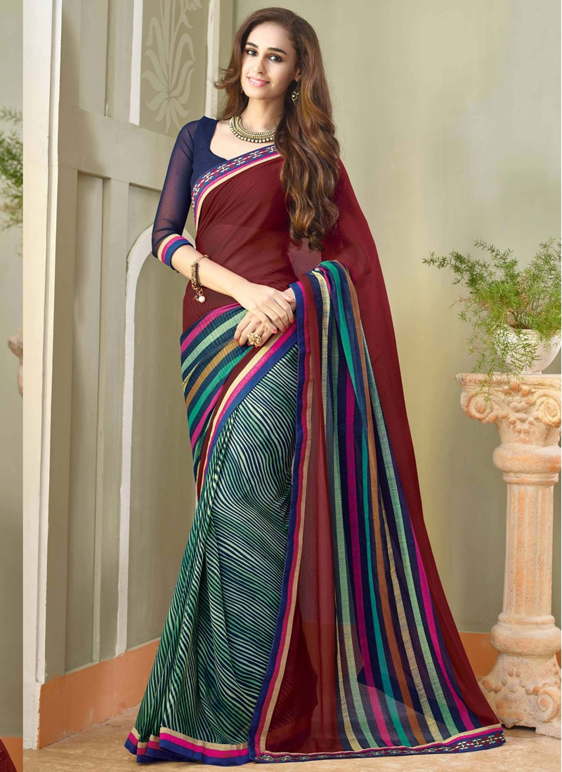 Fascinating Chiffon Lace Work Half N Half Party Wear Saree