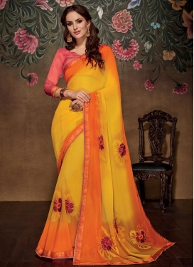 Fascinating Digital Print Work Faux Georgette Contemporary Style Saree For Ceremonial