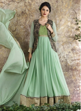 Fascinating Faux Georgette Embroidered Work Jacket Style Anarkali Suit For Ceremonial