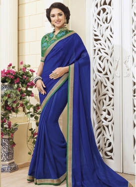 Fascinating  Faux Georgette Embroidered Work Trendy Saree