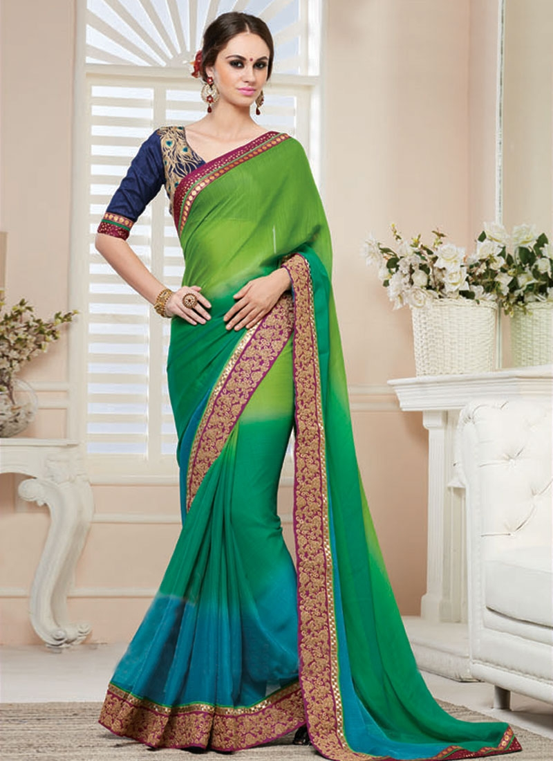Fascinating Green And Light Blue Color Party Wear Saree