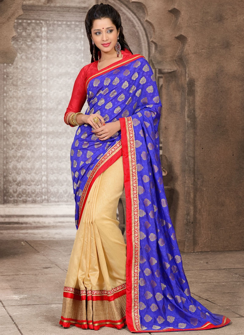Fascinating Lace And Patch Work Half N Half Casual Saree