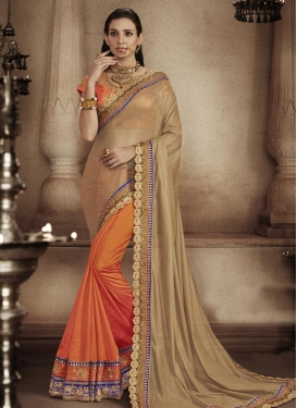 Fascinating Lace Work Art Silk Brown and Orange Designer Half N Half Saree For Festival