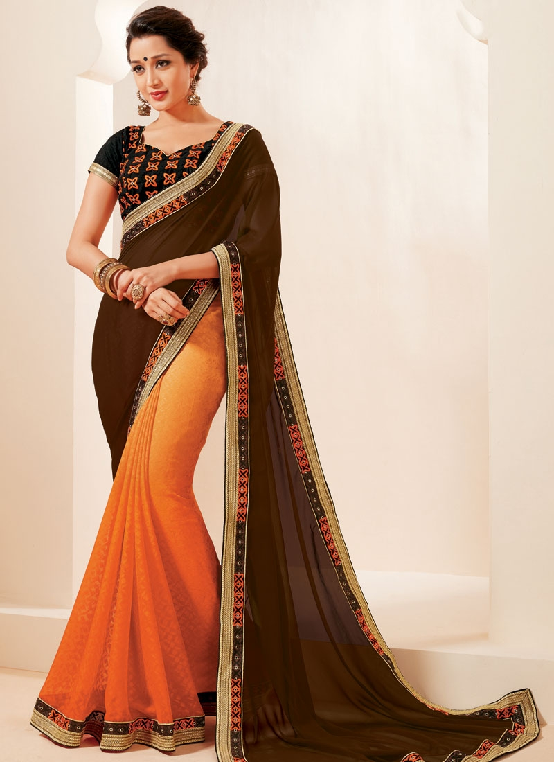 Fascinating Lace Work Half N Half Party Wear Saree