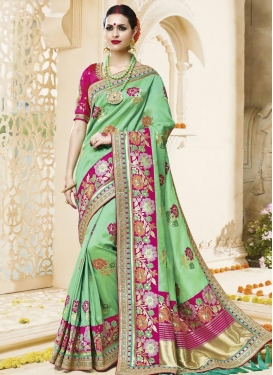 Fascinating Magenta and Mint Green  Satin Silk Designer Contemporary Style Saree