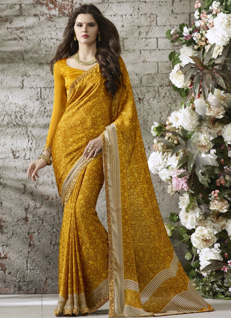 Fascinating Mustard Color Printed Casual Saree