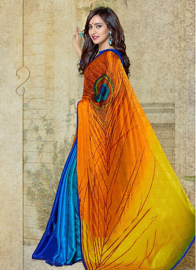 Fascinating Neha Sharma Digital Print And Stone Work Half N Half Casual Saree