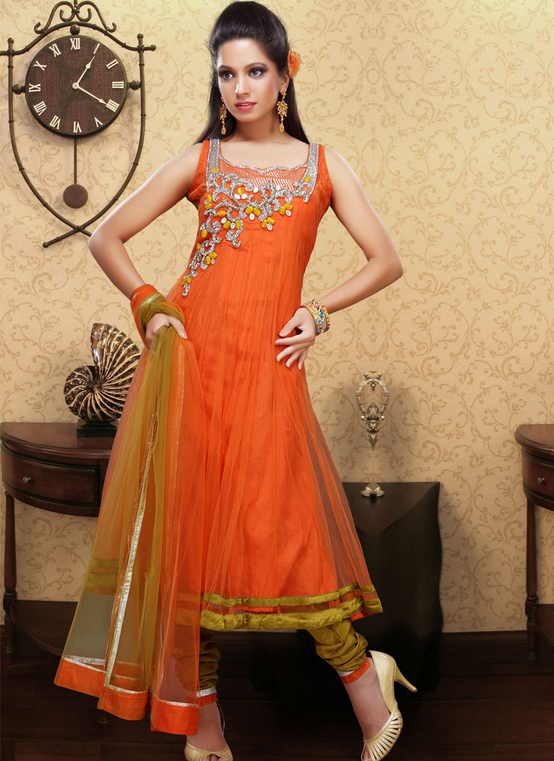 Fascinating Orange And Gold Color Salwar Suit