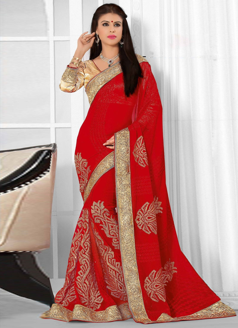 Fascinating Red Color Booti Work Wedding Saree