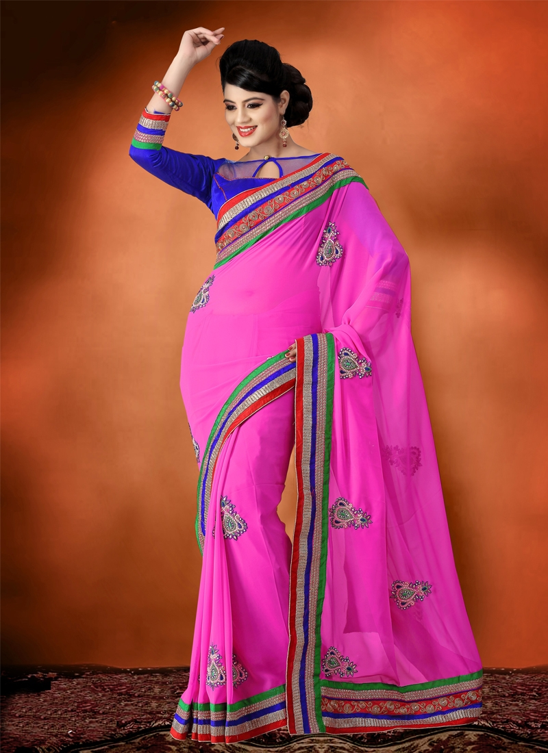 Fascinating Stone Work Georgette Party Wear Saree