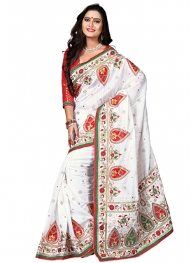 Fascinating White Color Bhagalpuri Silk Designer Saree