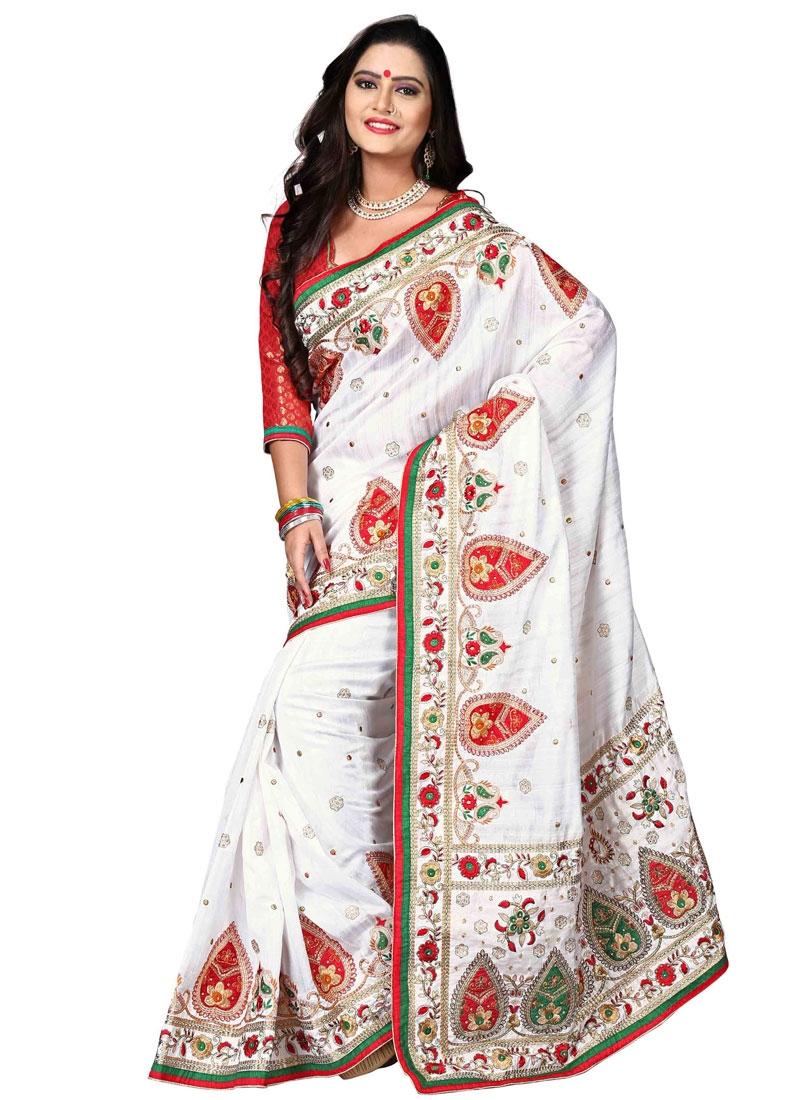 Fascinating White Color Bhagalpuri Silk Designer Saree