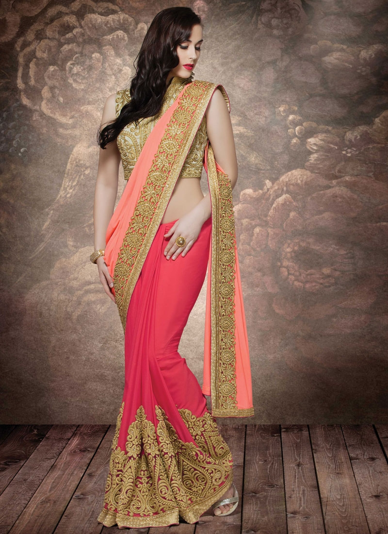 Fashionable Bamber Georgette Half N Half Wedding Saree