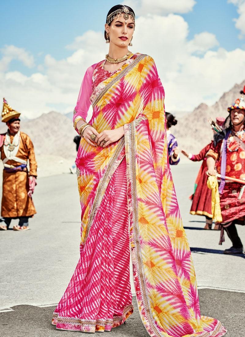 Fashionable Bandhej Print Work Half N Half Party Wear Saree