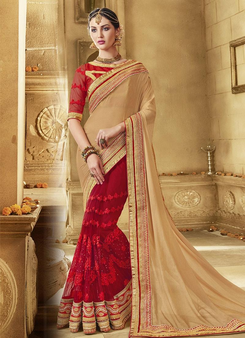 Fashionable Beads Work Red Color Half N Half Wedding Saree