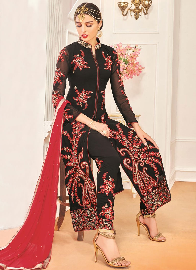 Fashionable Black Color Booti Work Pant Style Designer Suit