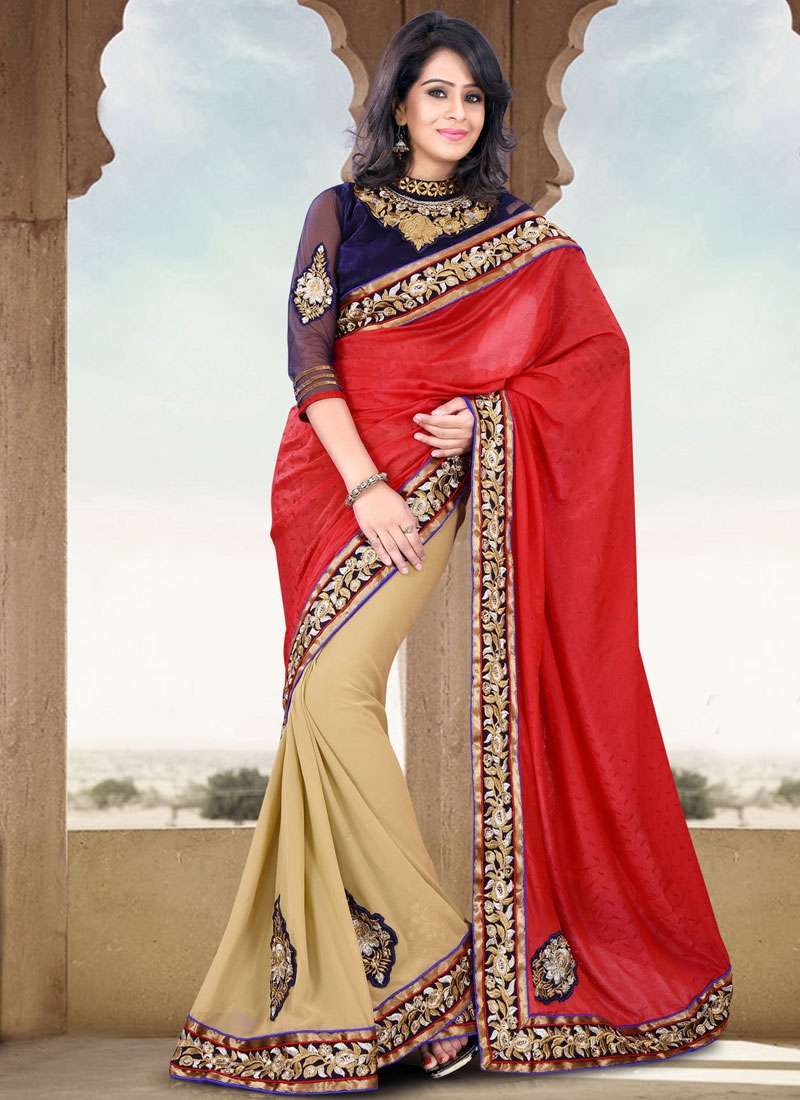 Fashionable Booti And Lace Work Party Wear Saree