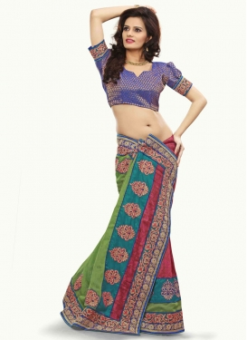 Fashionable Booti And Stone Work Half N Half Designer Saree